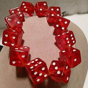 Red and White Dice Bead Bracelet Stretch Gamblers/